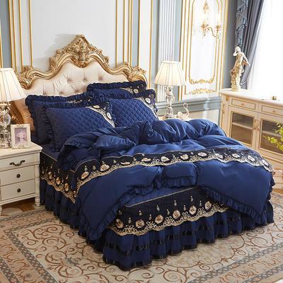 2020新款(四季款)細絲斜紋夾棉床裙系列—床裙四件套 1.5m床裙款四件套 寶藍