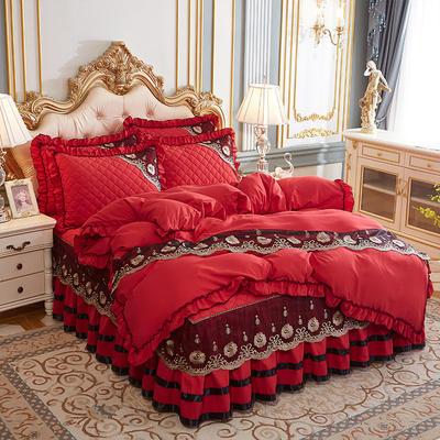 2020新款(四季款)細絲斜紋夾棉床裙系列—床裙四件套 1.5m床裙款四件套 大紅