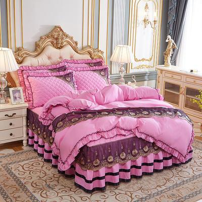 2020新款(四季款)細絲斜紋夾棉床裙系列—床裙四件套 1.5m床裙款四件套 粉色