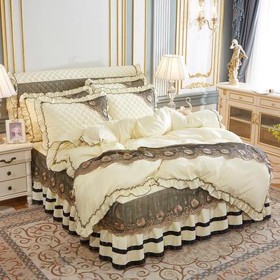 2020新款(四季款)細絲斜紋夾棉床裙系列—床裙四件套 1.5m床裙款四件套 米黃
