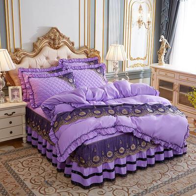 2020新款(四季款)細絲斜紋夾棉床裙系列—床裙四件套 1.5m床裙款四件套 淺紫