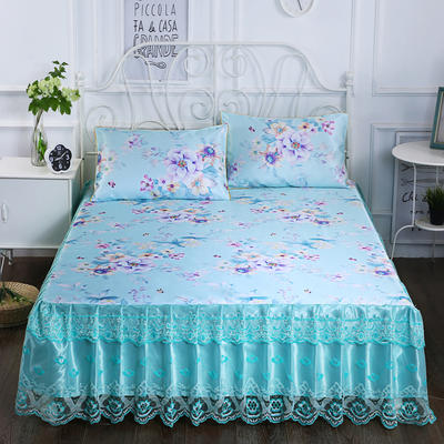2020新款床裙款冰丝布艺软凉席三件套系列—冰丝布艺凉席床裙(三件套) 120*200cm凉席床裙+枕套1只两件套 蝶恋花-蓝