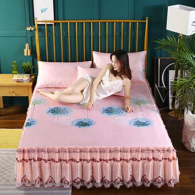 2020新款床裙款冰丝布艺软凉席三件套系列—冰丝布艺凉席床裙(三件套) 120*200cm凉席床裙+枕套1只两件套 时尚生活-玉