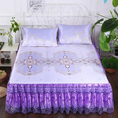 2020新款床裙款冰丝布艺软凉席三件套系列—冰丝布艺凉席床裙(三件套) 120*200cm凉席床裙+枕套1只两件套 水颜墨香-紫