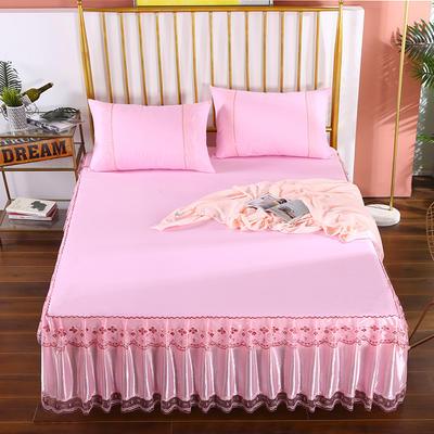 2020新款蕾丝床裙系列—蕾丝床裙(富丽) 单品床裙150*200+45cm 富丽-粉色
