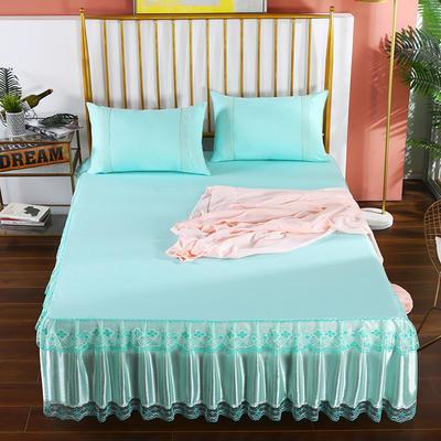 2020新款蕾丝床裙系列—蕾丝床裙(富丽) 单品床裙150*200+45cm 富丽-水绿