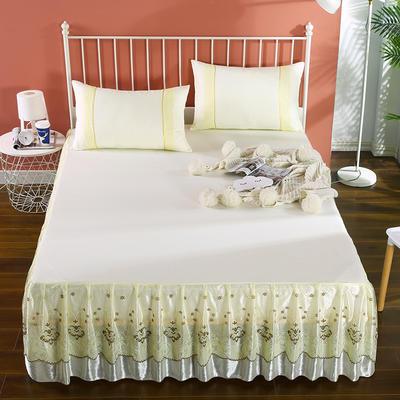 2020新款蕾丝床裙系列—蕾丝床裙(浪漫花都) 单品床裙150*200+45cm 浪漫花都(米黄)