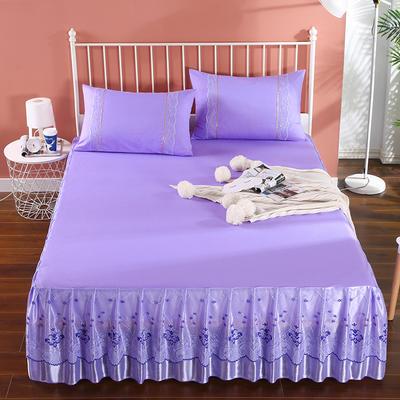2020新款蕾丝床裙系列—蕾丝床裙(浪漫花都) 单品床裙150*200+45cm 浪漫花都(紫色)
