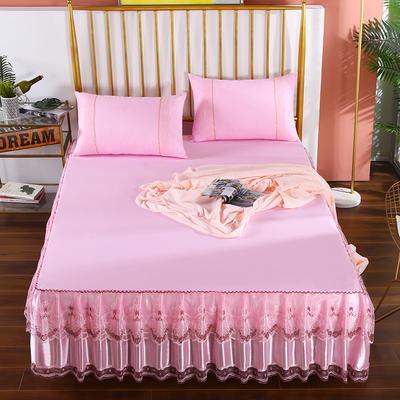 2020新款蕾丝床裙系列—蕾丝床裙(玫瑰情缘) 单品床裙150*200+45cm 玫瑰情缘-粉色