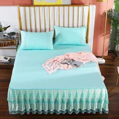2020新款蕾丝床裙系列—蕾丝床裙(玫瑰情缘) 单品床裙150*200+45cm 玫瑰情缘-水绿