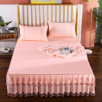 2020新款蕾丝床裙系列—蕾丝床裙(玫瑰情缘) 单品床裙150*200+45cm 玫瑰情缘-玉色