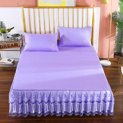 2020新款蕾丝床裙系列—蕾丝床裙(玫瑰情缘) 单品床裙150*200+45cm 玫瑰情缘-紫色