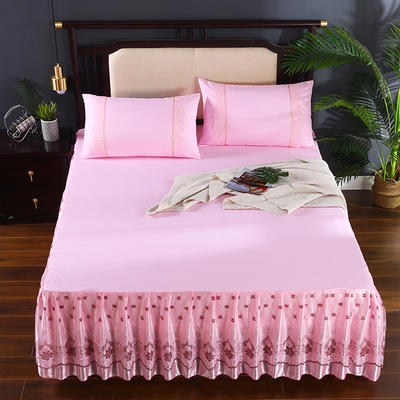 2020新款蕾丝床裙系列—蕾丝床裙(欧典之约) 单品床裙150*200+45cm 欧典之约(粉色)