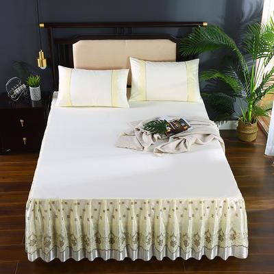 2020新款蕾丝床裙系列—蕾丝床裙(欧典之约) 单品床裙150*200+45cm 欧典之约(米黄)