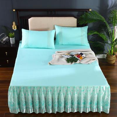 2020新款蕾丝床裙系列—蕾丝床裙(欧典之约) 单品床裙150*200+45cm 欧典之约(水绿)