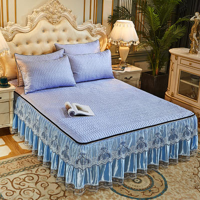 2020新款冰丝夹棉床裙凉席三件套(脱卸裙摆) 150cm×200cm 三件套 典雅蓝