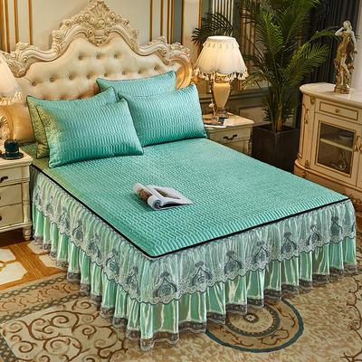 2021新款冰丝夹棉床裙凉席三件套(脱卸裙摆) 180cm×200cm 三件套 翡翠绿