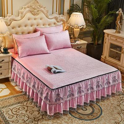 2021新款冰丝夹棉床裙凉席三件套(脱卸裙摆) 180cm×200cm 三件套 樱花粉