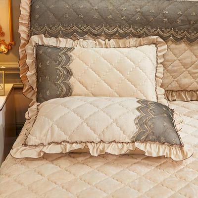 2020新款夹棉蕾丝法莱绒床裙四件套贵族风范系列—单品枕套 48cmX74cm/对 贵族风范 浅驼