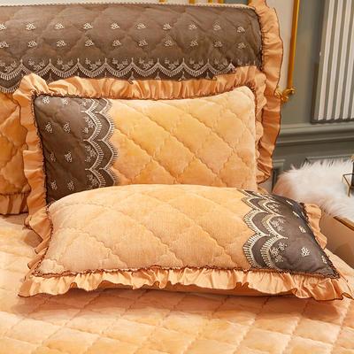 2020新款夹棉蕾丝法莱绒床裙四件套贵族风范系列—单品枕套 48cmX74cm/对 贵族风范 土豪金
