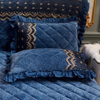 2020新款夹棉蕾丝法莱绒床裙四件套贵族风范系列—单品枕套 48cmX74cm/对 贵族风范 雅典蓝