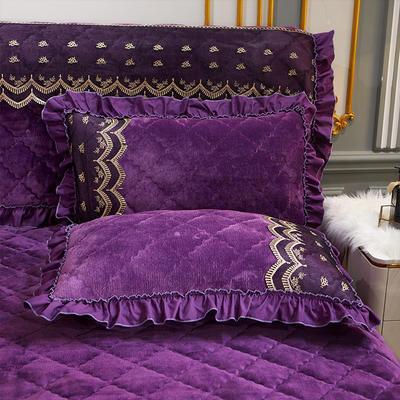 2020新款夹棉蕾丝法莱绒床裙四件套贵族风范系列—单品枕套 48cmX74cm/对 贵族风范 紫罗兰