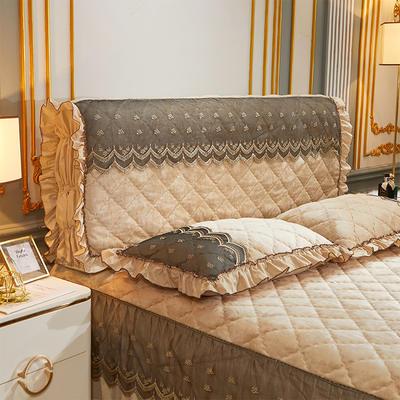 2020新款夹棉蕾丝法莱绒床裙四件套贵族风范系列—全包床头罩 150cm*60cm 贵族风范 浅驼