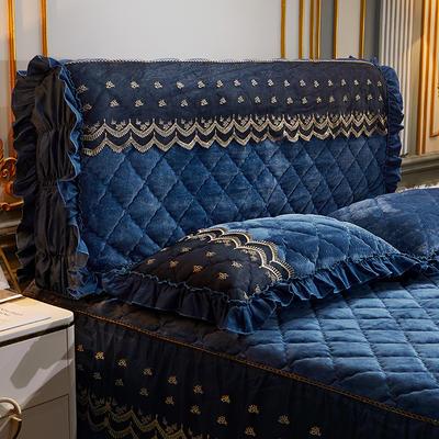 2020新款夹棉蕾丝法莱绒床裙四件套贵族风范系列—全包床头罩 150cm*60cm 贵族风范 雅典蓝