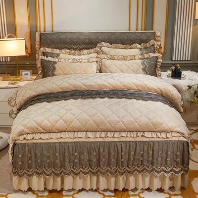 2020新款夹棉蕾丝法莱绒床裙四件套贵族风范系列—单品夹棉被套 200X230cm 贵族风范 浅驼