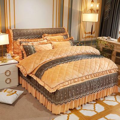 2020新款夹棉蕾丝法莱绒床裙四件套贵族风范系列—床裙四件套 1.8m床裙款 贵族风范 土豪金