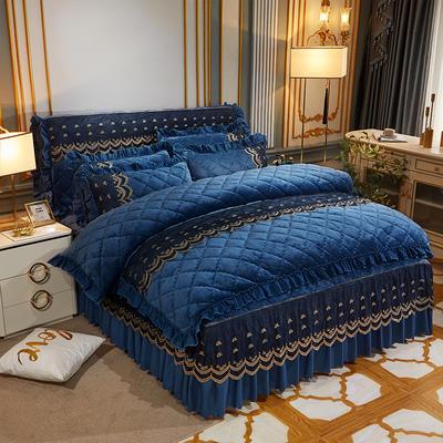 2020新款夹棉蕾丝法莱绒床裙四件套贵族风范系列—床裙四件套 1.8m床裙款 贵族风范 雅典蓝