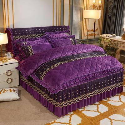 2020新款夹棉蕾丝法莱绒床裙四件套贵族风范系列—床裙四件套 1.8m床裙款 贵族风范 紫罗兰