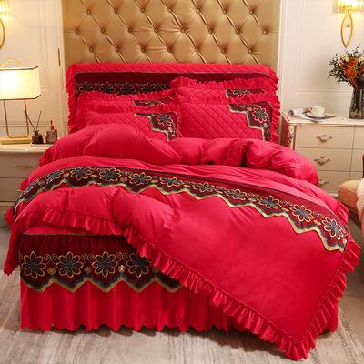 2020新款水晶绒夹棉蕾丝床裙四件套皇家豪庭系列—单品被套 220x240cm 大红色