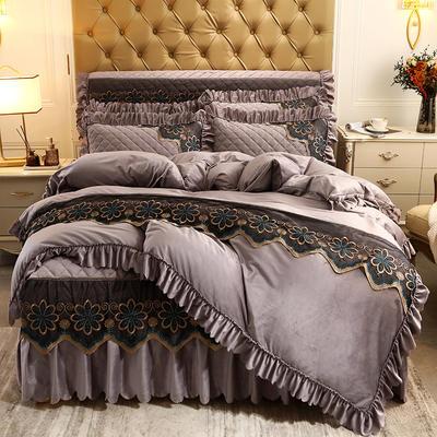 2020新款水晶绒夹棉蕾丝床裙四件套皇家豪庭系列—单品被套 220x240cm 卡其色