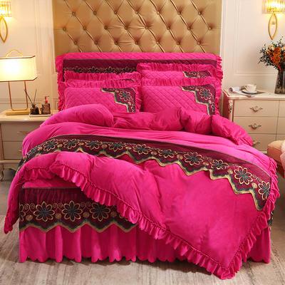 2020新款水晶绒夹棉蕾丝床裙四件套皇家豪庭系列—单品被套 220x240cm 玫红色