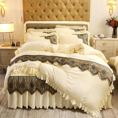2020新款水晶绒夹棉蕾丝床裙四件套皇家豪庭系列—单品被套 220x240cm 米黄色