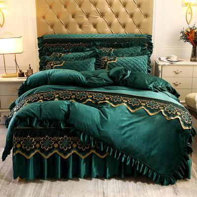 2020新款水晶绒夹棉蕾丝床裙四件套皇家豪庭系列—单品被套 220x240cm 墨绿色