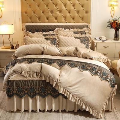 2020新款水晶绒夹棉蕾丝床裙四件套皇家豪庭系列—单品被套 220x240cm 香槟色