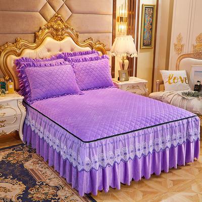 2020新款可脱卸水晶绒夹棉床裙四件套金碧辉煌系列—床裙三件套 单床裙180*200cm+45cm 浪漫紫