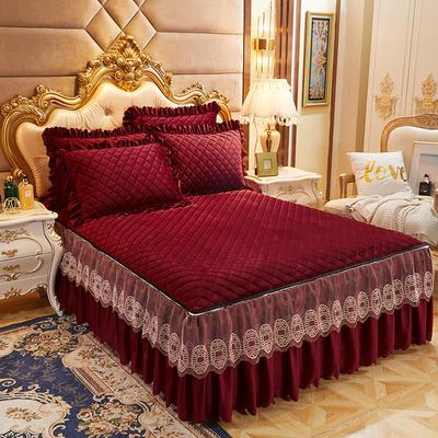 2020新款可脱卸水晶绒夹棉床裙四件套金碧辉煌系列—床裙三件套 单床裙180*200cm+45cm 玫瑰红