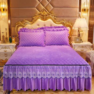 2020新款可脱卸水晶绒夹棉床裙四件套金碧辉煌系列—床裙四件套 1.8m床裙四件套 浪漫紫