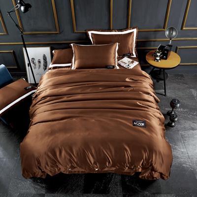 2018新款-新款臻品水洗真丝四件套 1.5m(5英尺)床 深咖