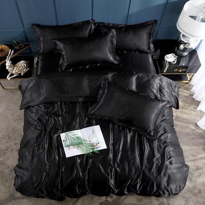 2019新款-冰丝真丝单品床笠(专供跨境电商亚马逊等 ,出口外贸定做 ) 120cmx200cm 黑色