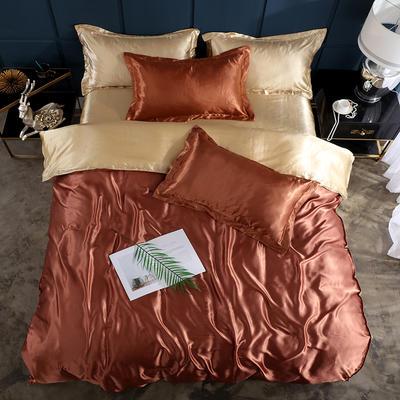 2019新款-冰丝真丝单品床笠(专供跨境电商亚马逊等 ,出口外贸定做 ) 120cmx200cm 咖啡驼