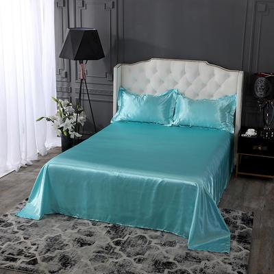 2020新款-冰丝真丝单品床单(专供跨境电商亚马逊等 ,出口外贸定做 ) 230cmx250cm 水蓝