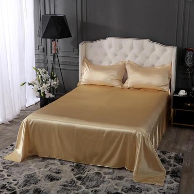 2020新款-冰丝真丝单品床单(专供跨境电商亚马逊等 ,出口外贸定做 ) 170cmx230cm 驼色