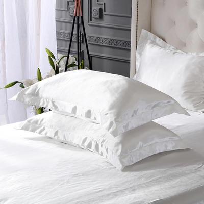 2020新款-冰丝真丝单品枕套(专供跨境电商亚马逊等 ,出口外贸定做 ) 48cmX74cm/一对 白色