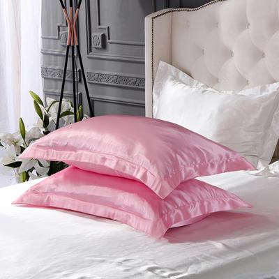 2020新款-冰丝真丝单品枕套(专供跨境电商亚马逊等 ,出口外贸定做 ) 48cmX74cm/一对 粉白