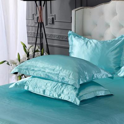 2020新款-冰丝真丝单品枕套(专供跨境电商亚马逊等 ,出口外贸定做 ) 48cmX74cm/一对 水蓝