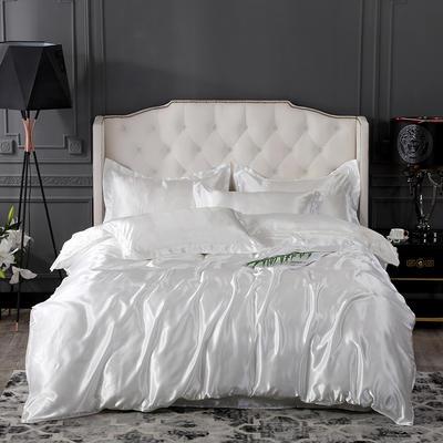 2019新款-冰丝真丝四件套,出口外贸 可卖单件 床单款1.8m(6英尺)床 白色
